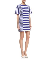 Rebecca Taylor Womens Stripedjersey Shortsleeve Dress - Lyst