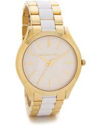 Michael Kors Slim Runway Watch - White/Gold - Lyst