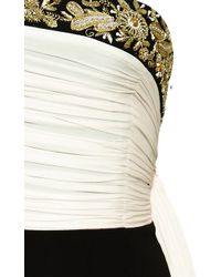 Sachin+babi Embroidered Silk and Crepe Strapless Dress with Pleated Sash - Lyst