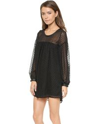 Tbags Los Angeles Dot Chiffon Dress with Leather Trim  Black Dot - Lyst
