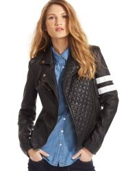 Tommy Hilfiger Leather Racing-stripe Motorcycle Jacket - Lyst