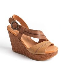 Naya - Estra Leather Platform Wedge Sandals - Lyst