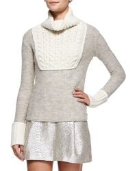 Tory Burch Gretchen Mixed-knit Turtleneck Sweater - Lyst