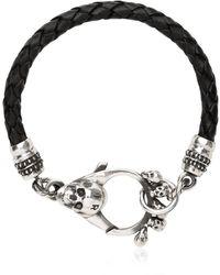 John Richmond - Braided Leather & Skull Bracelet - Lyst