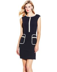 Vince Camuto Sleeveless Zipper Pocket Dress - Lyst