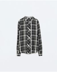 Zara Doublebreasted Checked Shirt - Lyst