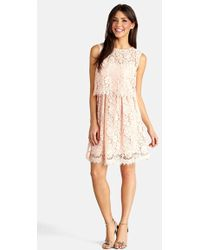 Donna Morgan Lace Popover Dress - Lyst