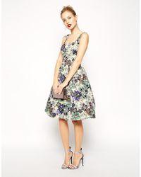 Asos Premium Debutante Scuba Digital Jewel Print Midi Dress - Lyst