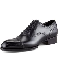 Tom Ford Edward Broguetrim Oxford Black - Lyst