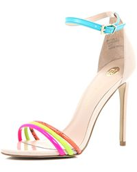 River Island Bright Pink Triple Strap Barely There Sandals multicolor - Lyst