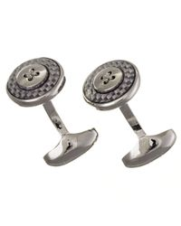 Black.co.uk Carbon And Rhodium Button Cufflinks