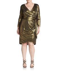 Abs, Sizes 14-24 Faux Wrap Lamã© Dress - Lyst