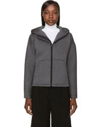 T By Alexander Wang Grey Double Knit Leather Trim Scuba Hoodie - Lyst