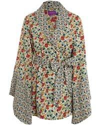 Liberty - Multicolour Poppy And Honesty Cotton Kimono - Lyst