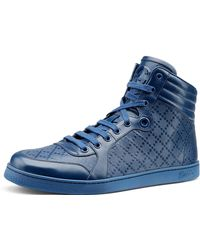 Gucci Diamante Leather Hightop Sneaker - Lyst