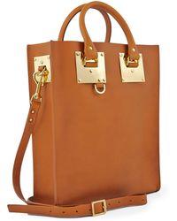 Sophie Hulme Tan Saddle Leather Mini Tote Bag - Lyst
