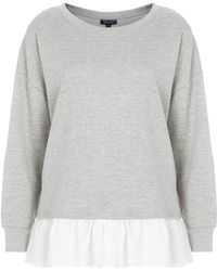 Topshop Womens Pleated Hem Sweat Grey Marl - Lyst