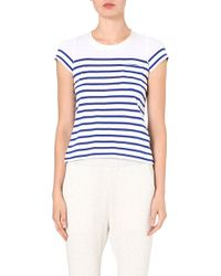 Sacai Striped Contrastback Tshirt Whiteblue - Lyst