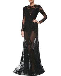 Elie Saab Longsleeve Sheerlace Gown - Lyst