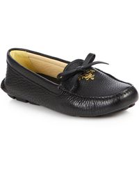 Prada Bow Leather Driver Loafers - Lyst