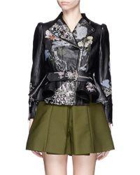 Alexander McQueen | Cross Stitch Flower Peplum Leather Jacket | Lyst