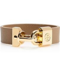Tory Burch - Lock Closure Leather Bracelet - Lyst