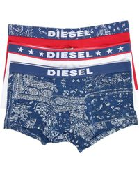 DIESEL | 3-pack Of Shawn Boxer Shorts Red/white/multi Blue | Lyst