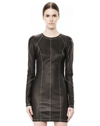 Alexander Wang Stretch Leather Long Sleeve Dress - Lyst