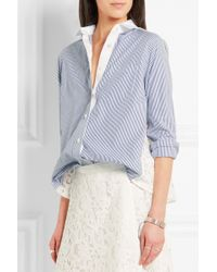 Sacai - Striped Cotton-poplin And Guipure Lace Shirt - Lyst