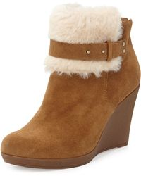 Ugg Antonia Sheepskin Wedge Bootie Chestnut 380b80b - Lyst