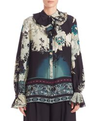 Roberto Cavalli | Ruffled Silk Floral-print Blouse | Lyst