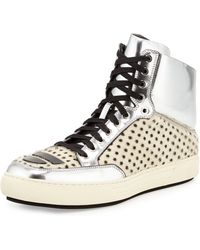 Alejandro Ingelmo Metallic Leather Calf Hair Hightop Sneaker Whitesilver - Lyst