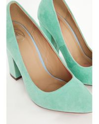Missguided Block Heel Court Shoes Mint - Lyst