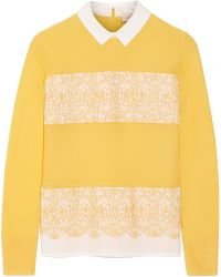 Tory Burch Edwina Merino Wool And Stretch-Cotton Poplin Sweater - Lyst