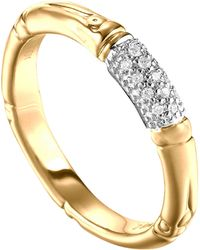 John Hardy Bamboo Slim Diamond Band Ring Gold - Lyst