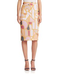 Raoul Printed Mesh Pencil Skirt - Lyst