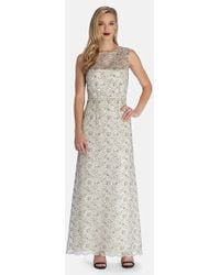 Tahari Women'S Sheer Yoke Embroidered Lace Gown - Lyst