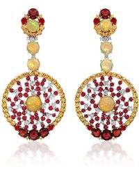 Abellan New York - One Of A Kind Burma Rubies, Opals And Diamonds Earrings - Lyst