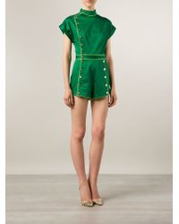 Olympia Le-Tan - Band Collar Buttoned Playsuit - Lyst