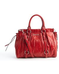 Miu Miu Red Pleated Leather Convertible Bag - Lyst