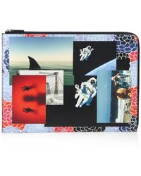 Raf Simons Photo-Montage Print Leather Document Holder multicolor - Lyst