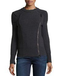 Philosophy di Alberta Ferretti Ribbed Shoulder Knit Moto Jacket - Lyst