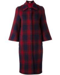People - Boxy Tartan Overcoat - Lyst