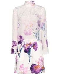 Nina Ricci Printed Silk Dress - Lyst