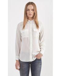 Equipment Slim Signature Silk Blouse white - Lyst
