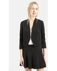 Topshop Crop Crepe Jacket black - Lyst