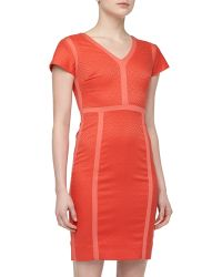 Rachel Roy Paneled Jacquard Sheath Dress Pomegranate - Lyst