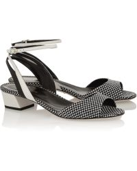 Sergio Rossi Woven-Paneled Leather Sandals - Lyst