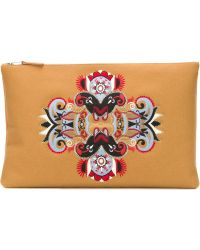 Mauro Grifoni - Embroidered Clutch With Contrasted Panels - Lyst