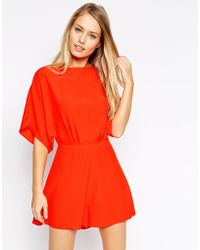 Asos Playsuit With Kimono Sleeve - Lyst